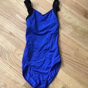 Natalie blue elastic crossback leotard
